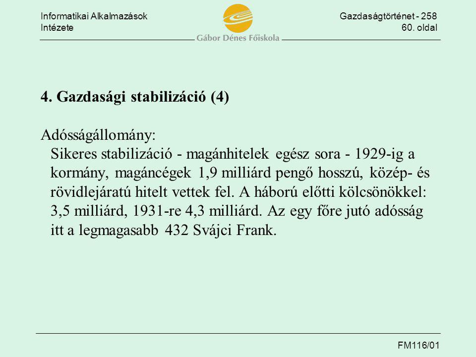Informatikai AlkalmazásokGazdaságtörténet - 258 Intézete60. oldal FM116/01 4. Gazdasági stabilizáció (4) Adósságállomány: Sikeres stabilizáció - magán