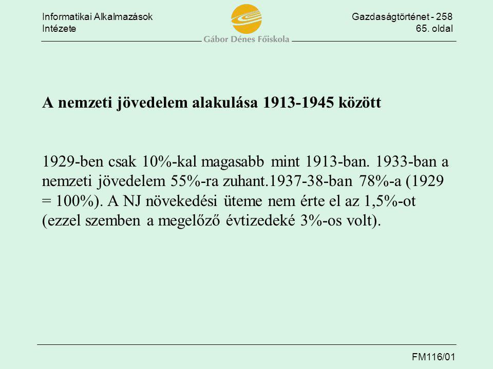 Informatikai AlkalmazásokGazdaságtörténet - 258 Intézete65. oldal FM116/01 A nemzeti jövedelem alakulása 1913-1945 között A nemzeti jövedelem alakulás
