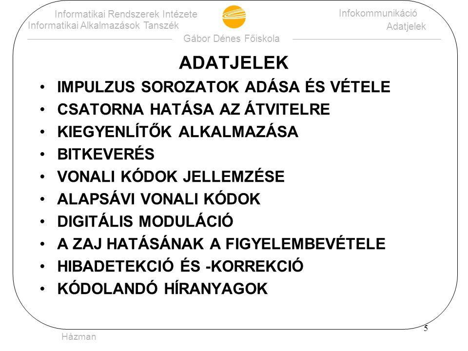 15 Gábor Dénes Főiskola Informatikai Rendszerek Intézete Informatikai Alkalmazások Tanszék Infokommunikáció Adatjelek Spisák - HDB3-KÓD -V 0 V 0 1 0 0 0 0 1 1 0 V+ 0 0 0 V+ V- V+