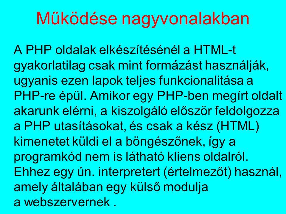 Működése nagyvonalakban A PHP oldalak elkészítésénél a HTML-t gyakorlatilag csak mint formázást használják, ugyanis ezen lapok teljes funkcionalitása a PHP-re épül.