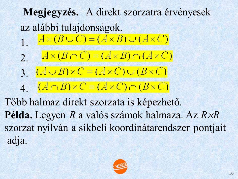9 HALMAZOK DIREKT SZORZATA DEFINÍCIÓ. A és B direkt szorzata: A  B (A kereszt B), (x, y)  A  B  x  A és y  B. 1. Példa. Ha A = {a, b, c} és B =