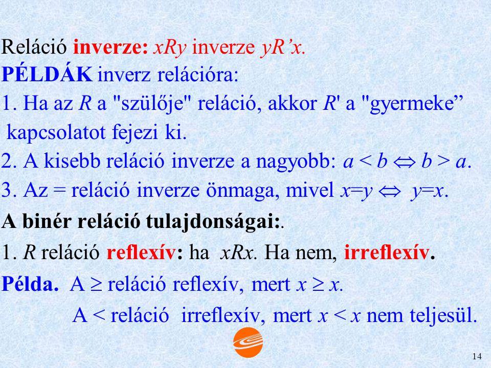 13 BINÉR RELÁCIÓK Jele: aRb. PÉLDÁK 1. Példa. Binér reláció a számok közötti egyenlőség, a kisebb, a nagyobb reláció azaz: a = b, a b. 2. Példa. xRy: