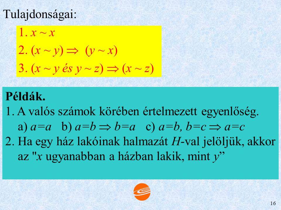 15 2. R szimmetrikus, ha xRy  yRx, ellenkező esetben aszimmetrikus. Ha xRy és yRx  x=y, akkor antiszimmetrikus. Példa. Az = reláció szimmetrikus, hi
