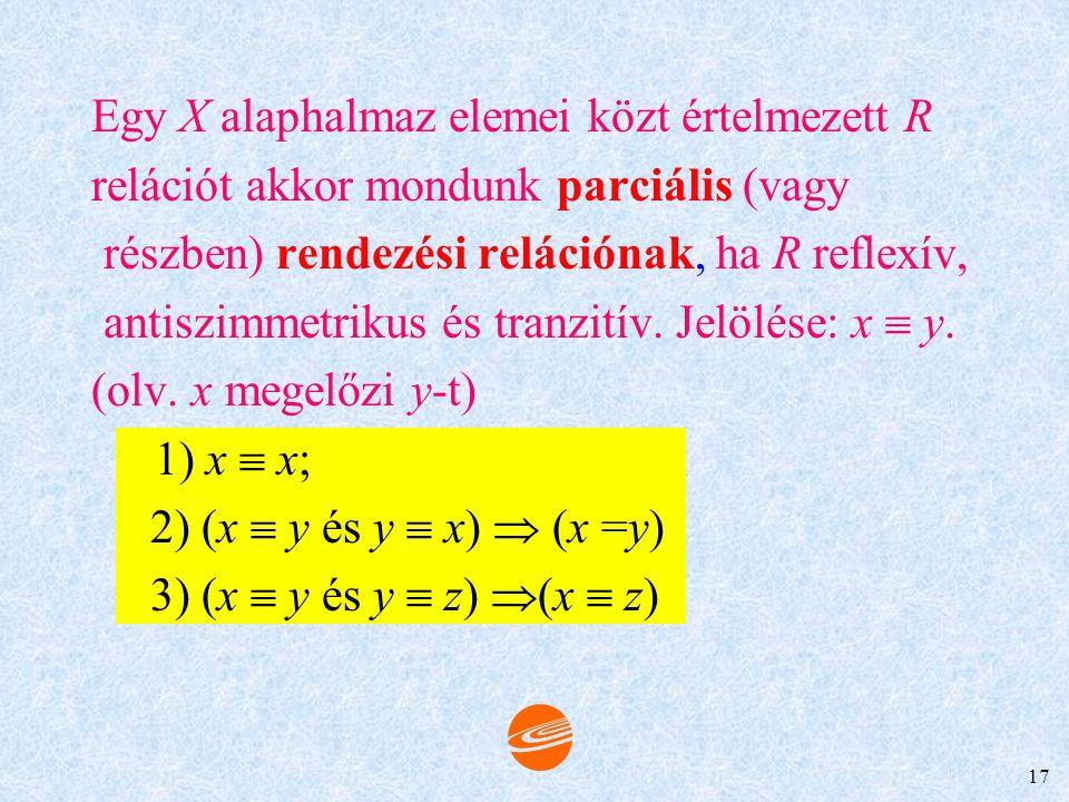16 Tulajdonságai: 1. x ~ x 2. (x ~ y)  (y ~ x) 3. (x ~ y és y ~ z)  (x ~ z) Példák. 1. A valós számok körében értelmezett egyenlőség. a) a=ab) a=b 