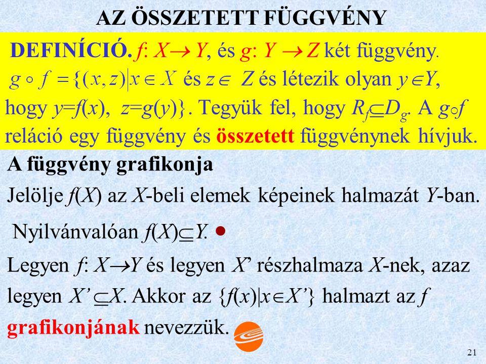 20 X: f értelmezési tartománya, jele: D f Y: f képtere (értékkészlete), jele: R f f függvény: f : x  y, vagy x  y X Y f Az x elemhez tartozó értéket