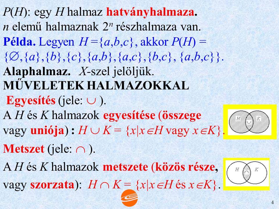 3 HALMAZ ÉS RÉSZHALMAZA Tulajdonságok: (reflexivitás) (antiszimmetria) (tranzitivitás) Valódi részhalmazok. Példa. Legyen K = {egész számok}; H = {pár