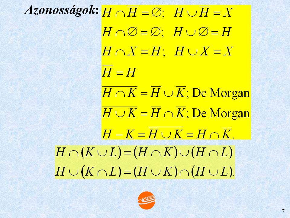 6 Azonosságok: 1. H - K  H 2. (H - K)  K =  3. H - K = H, akkor és csak akkor, ha H  K=  Halmaz komplementere. X – K halmaz a K kiegészítő (kompl