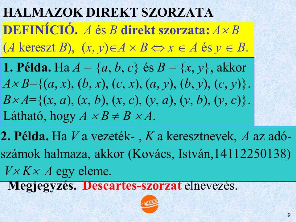 8 RELÁCIÓK RENDEZETT n-ESEK Rendezett pár. z=(x,y) Rendezett pár transzponáltja: (x,y)  (y,x). u = (x, y) és v = (a, b). u=v  x=a és y=b. Rendezett