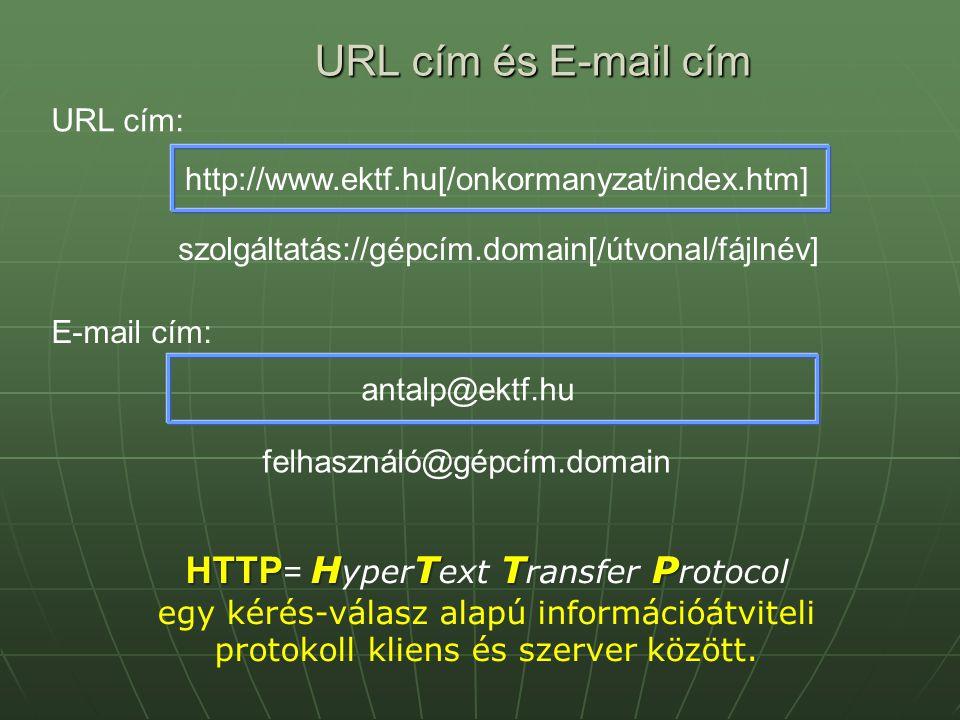URL cím és E-mail cím http://www.ektf.hu[/onkormanyzat/index.htm] URL cím: E-mail cím: antalp@ektf.hu felhasználó@gépcím.domain szolgáltatás://gépcím.