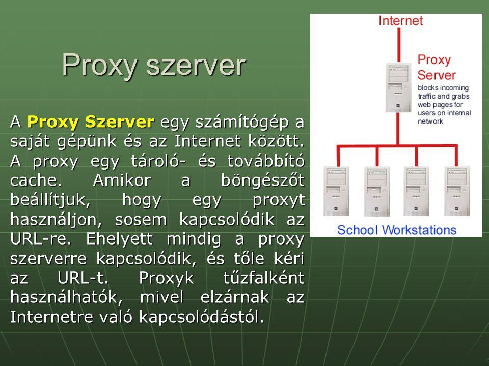 Proxy szerver A Proxy Szerver egy számítógép a saját gépünk és az Internet között. A proxy egy tároló- és továbbító cache. Amikor a böngészőt beállítj