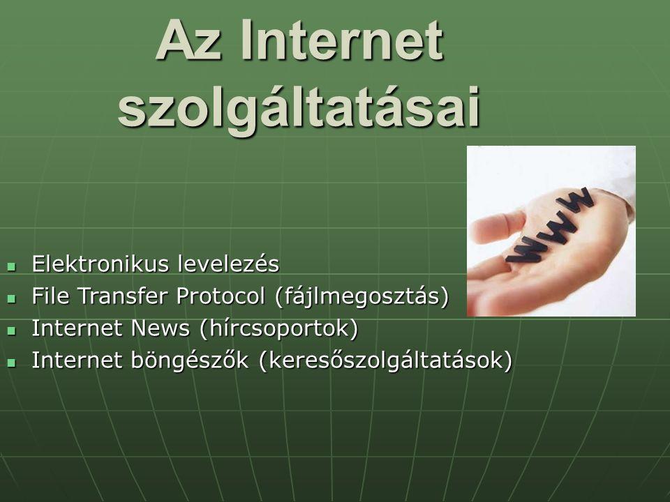 Az Internet szolgáltatásai Elektronikus levelezés Elektronikus levelezés File Transfer Protocol (fájlmegosztás) File Transfer Protocol (fájlmegosztás)