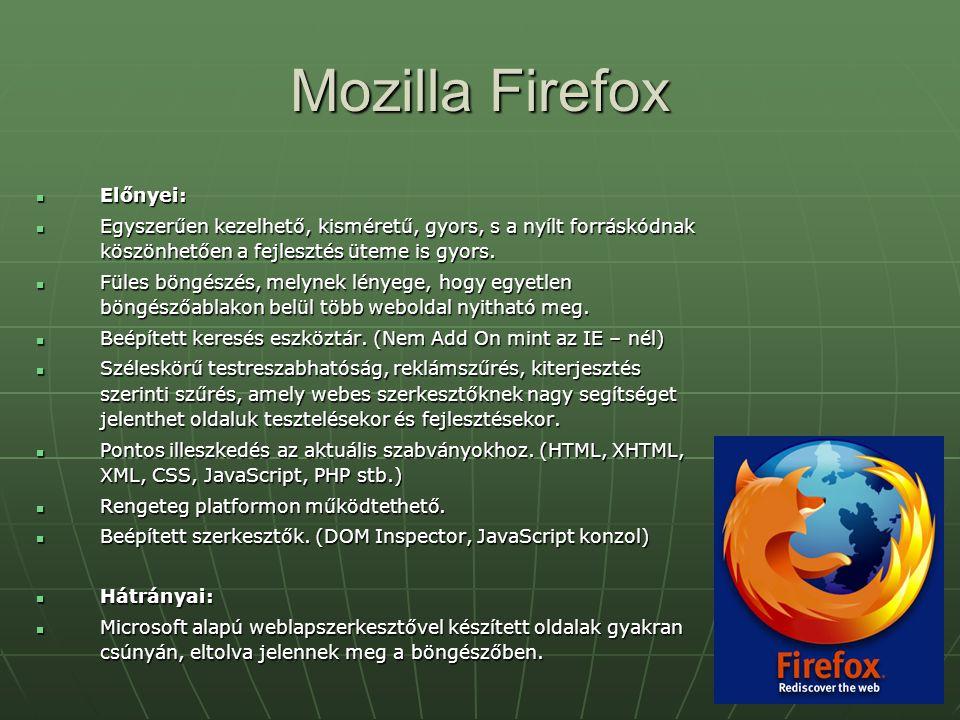 Mozilla Firefox Előnyei: Előnyei: Egyszerűen kezelhető, kisméretű, gyors, s a nyílt forráskódnak köszönhetően a fejlesztés üteme is gyors. Egyszerűen