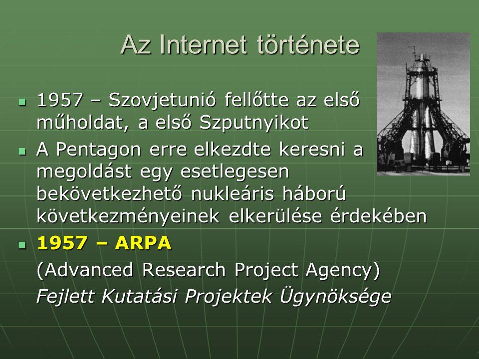 Az Internet története 1957 – Szovjetunió fellőtte az első műholdat, a első Szputnyikot 1957 – Szovjetunió fellőtte az első műholdat, a első Szputnyiko