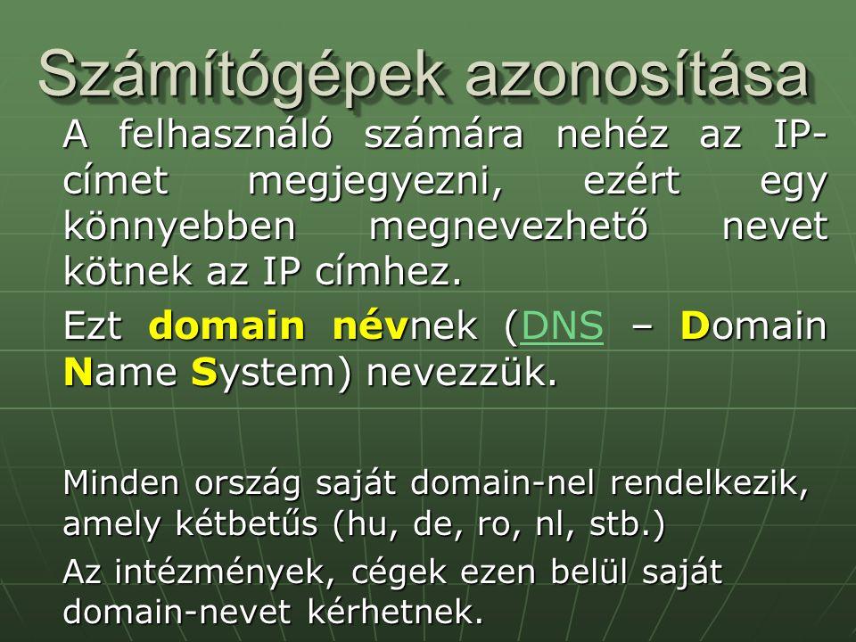 Számítógépek azonosítása A felhasználó számára nehéz az IP- címet megjegyezni, ezért egy könnyebben megnevezhető nevet kötnek az IP címhez. Ezt domain