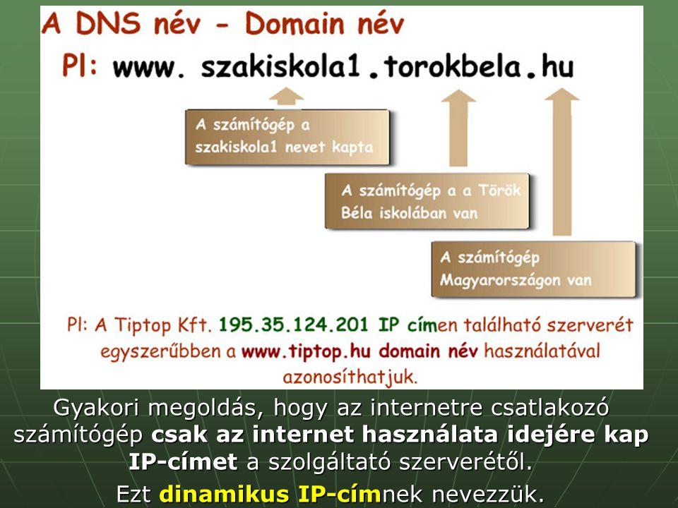 Gyakori megoldás, hogy az internetre csatlakozó számítógép csak az internet használata idejére kap IP-címet a szolgáltató szerverétől. Ezt dinamikus I
