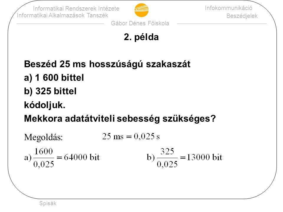 Gábor Dénes Főiskola Informatikai Rendszerek Intézete Informatikai Alkalmazások Tanszék Infokommunikáció Beszédjelek Spisák 2.