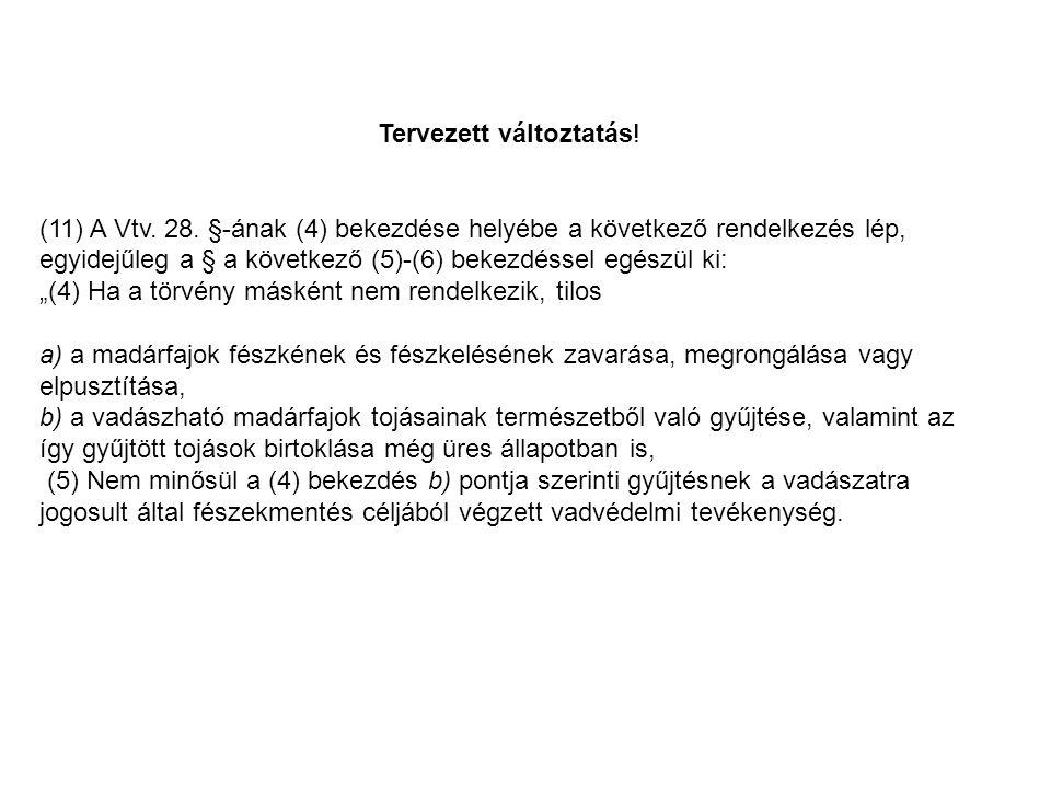 Tervezett változtatás.(11) A Vtv. 28.
