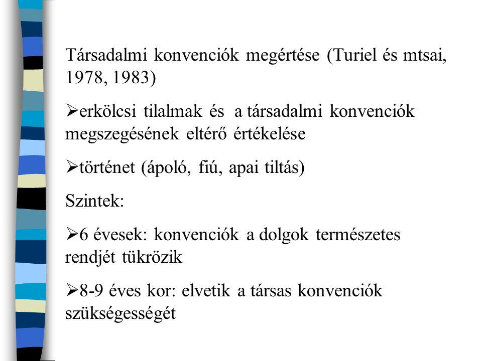 Társadalmi konvenciók megértése (Turiel és mtsai, 1978, 1983)  erkölcsi tilalmak és a társadalmi konvenciók megszegésének eltérő értékelése  történet (ápoló, fiú, apai tiltás) Szintek:  6 évesek: konvenciók a dolgok természetes rendjét tükrözik  8-9 éves kor: elvetik a társas konvenciók szükségességét