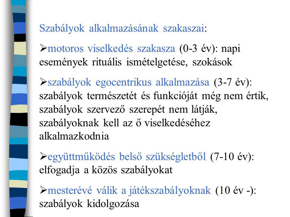 Szabályok alkalmazásának szakaszai:  motoros viselkedés szakasza (0-3 év): napi események rituális ismételgetése, szokások  szabályok egocentrikus alkalmazása (3-7 év): szabályok természetét és funkcióját még nem értik, szabályok szervező szerepét nem látják, szabályoknak kell az ő viselkedéséhez alkalmazkodnia  együttműködés belső szükségletből (7-10 év): elfogadja a közös szabályokat  mesterévé válik a játékszabályoknak (10 év -): szabályok kidolgozása