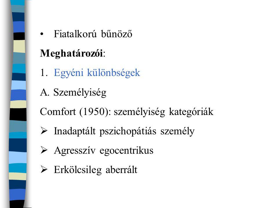 Fiatalkorú bűnöző Meghatározói: 1.Egyéni különbségek A. Személyiség Comfort (1950): személyiség kategóriák  Inadaptált pszichopátiás személy  Agress