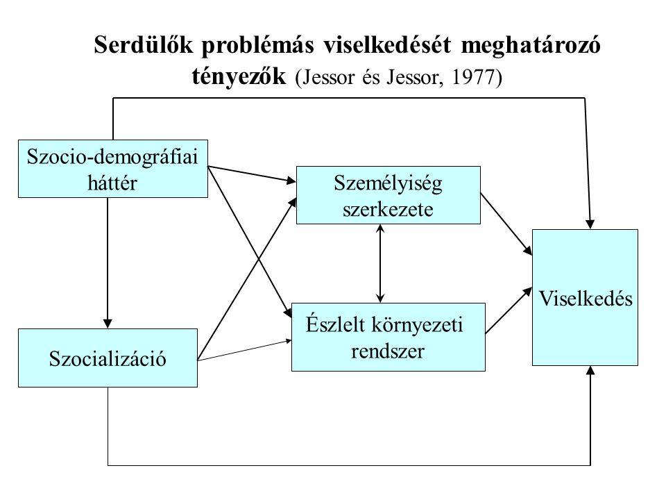 Serdülők problémás viselkedését meghatározó tényezők (Jessor és Jessor, 1977) Szocio-demográfiai háttér Szocializáció Személyiség szerkezete Észlelt környezeti rendszer Viselkedés