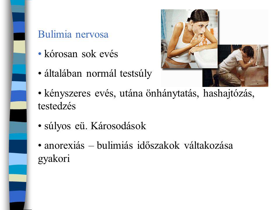 Bulimia nervosa kórosan sok evés általában normál testsúly kényszeres evés, utána önhánytatás, hashajtózás, testedzés súlyos eü. Károsodások anorexiás