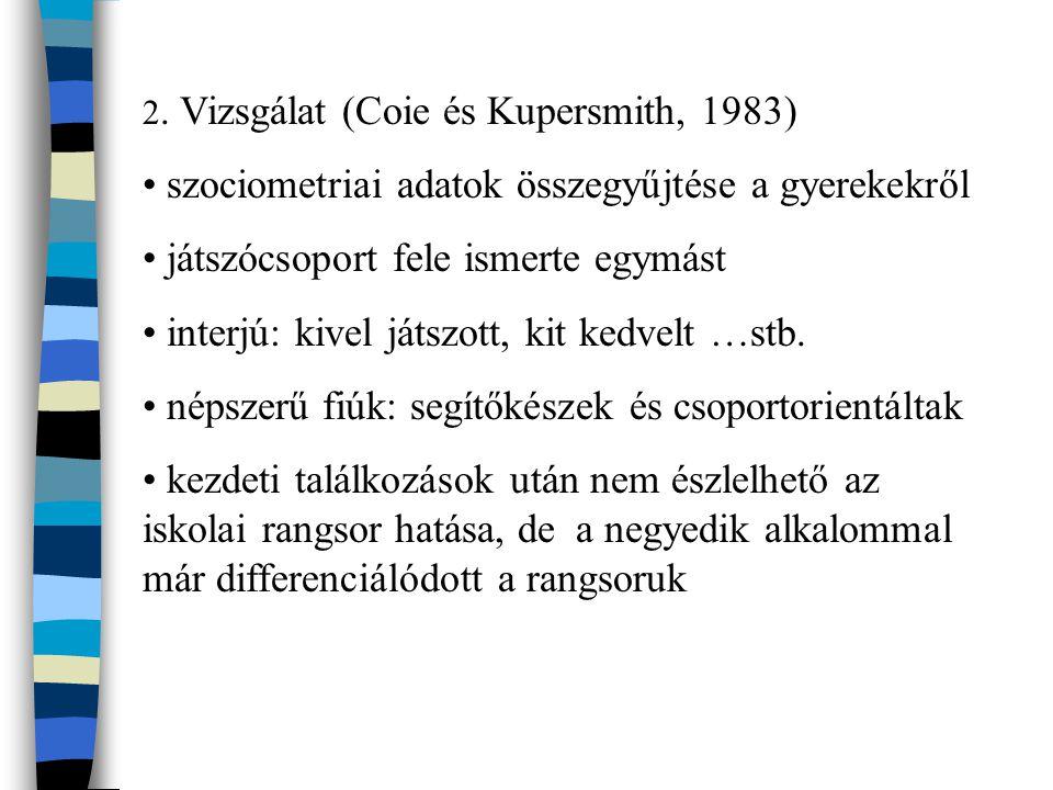 2. Vizsgálat (Coie és Kupersmith, 1983) szociometriai adatok összegyűjtése a gyerekekről játszócsoport fele ismerte egymást interjú: kivel játszott, k