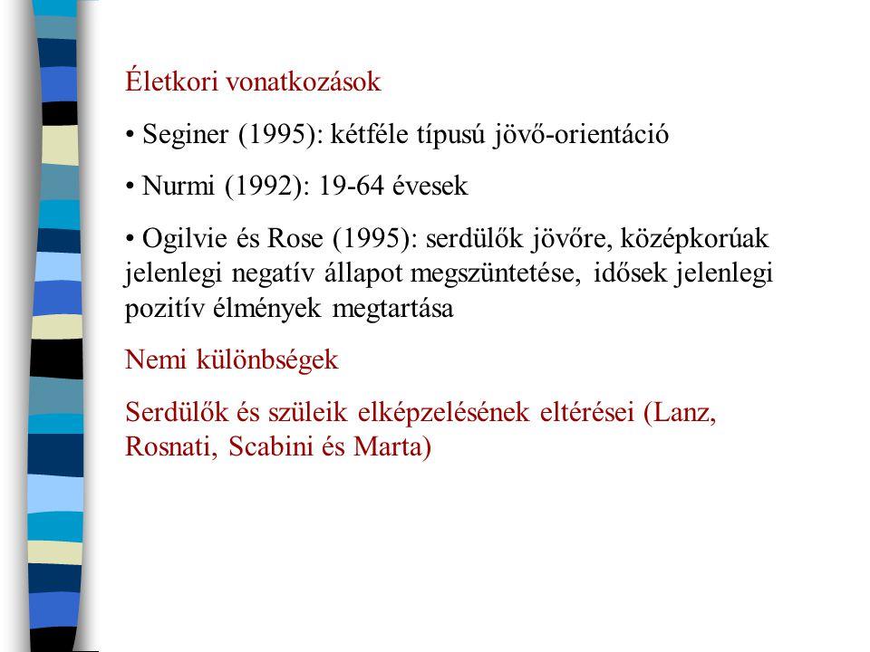 Életkori vonatkozások Seginer (1995): kétféle típusú jövő-orientáció Nurmi (1992): 19-64 évesek Ogilvie és Rose (1995): serdülők jövőre, középkorúak jelenlegi negatív állapot megszüntetése, idősek jelenlegi pozitív élmények megtartása Nemi különbségek Serdülők és szüleik elképzelésének eltérései (Lanz, Rosnati, Scabini és Marta)