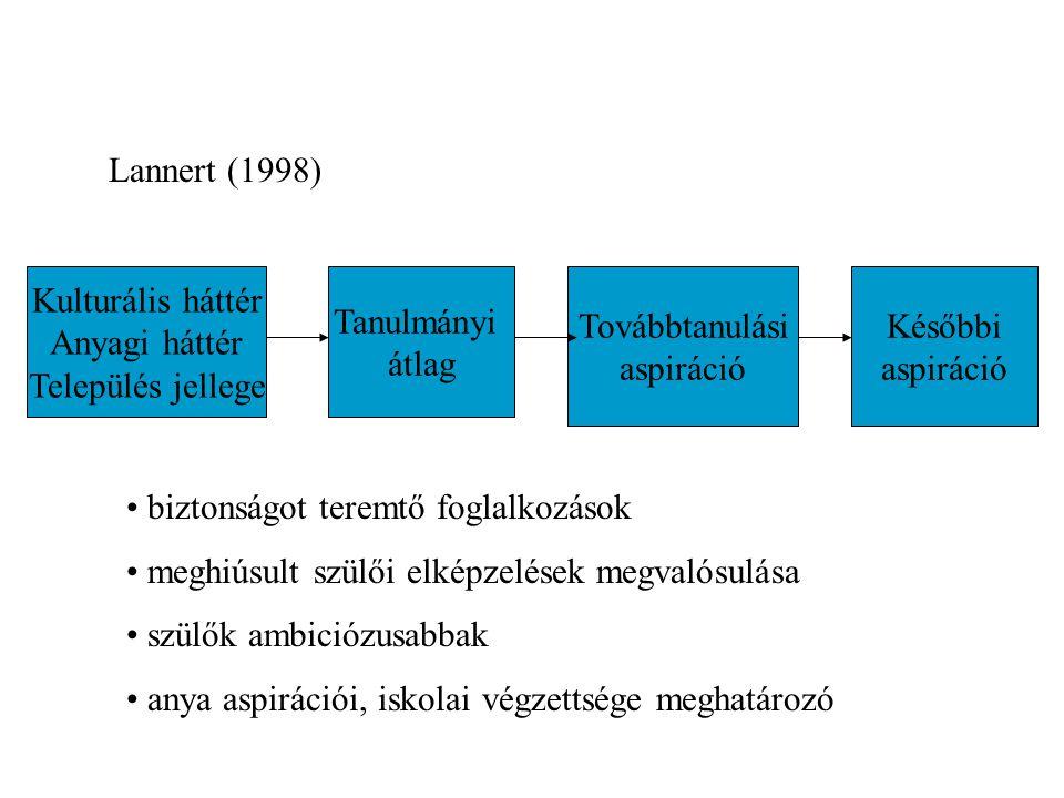 Kulturális háttér Anyagi háttér Település jellege Tanulmányi átlag Továbbtanulási aspiráció Későbbi aspiráció biztonságot teremtő foglalkozások meghiúsult szülői elképzelések megvalósulása szülők ambiciózusabbak anya aspirációi, iskolai végzettsége meghatározó Lannert (1998)