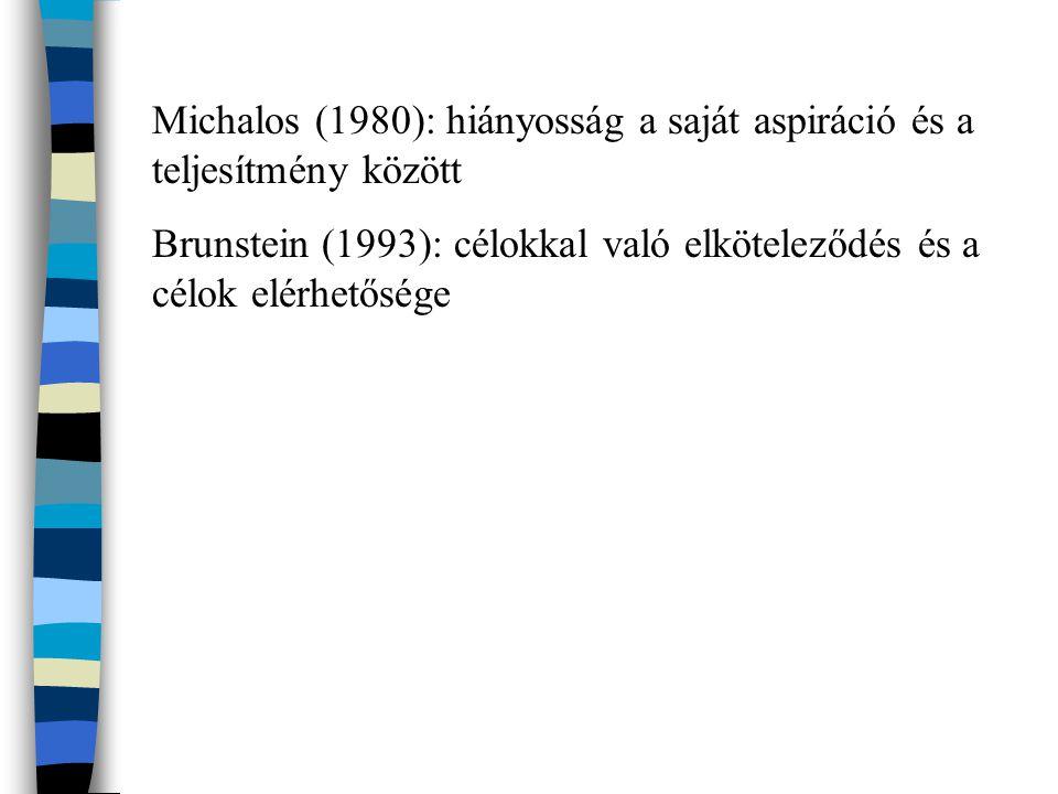 Michalos (1980): hiányosság a saját aspiráció és a teljesítmény között Brunstein (1993): célokkal való elköteleződés és a célok elérhetősége