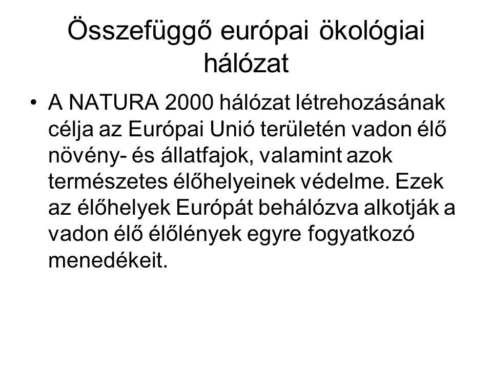 Összefüggő európai ökológiai hálózat A NATURA 2000 hálózat létrehozásának célja az Európai Unió területén vadon élő növény- és állatfajok, valamint azok természetes élőhelyeinek védelme.