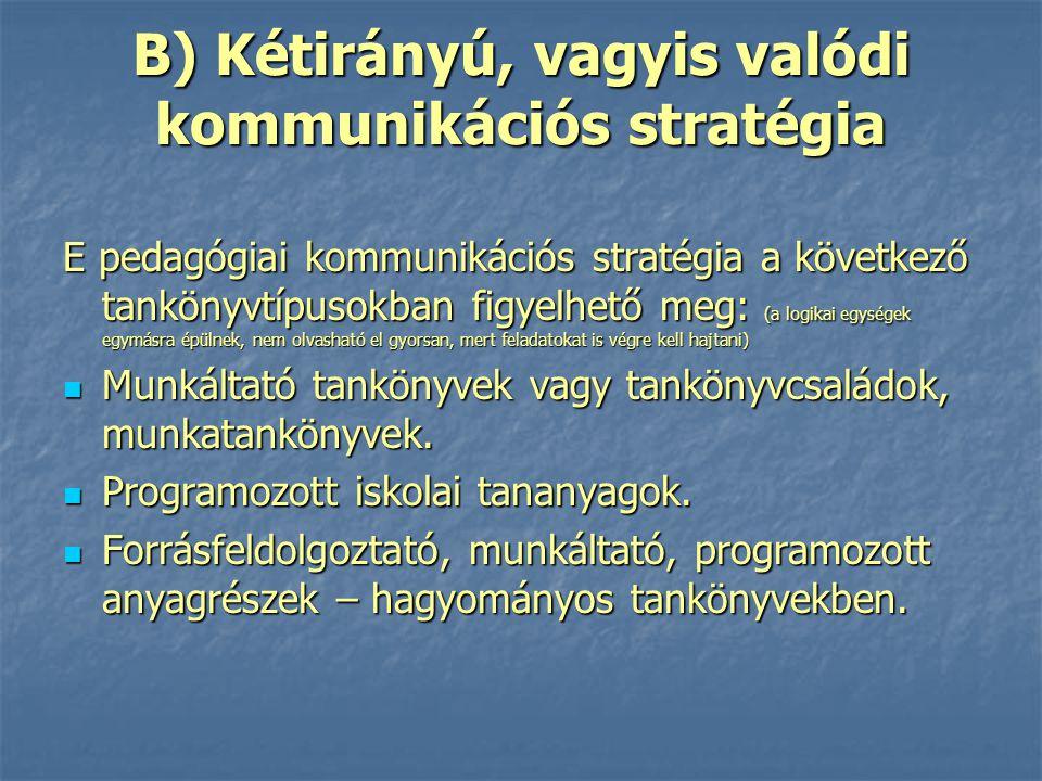 B) Kétirányú, vagyis valódi kommunikációs stratégia E pedagógiai kommunikációs stratégia a következő tankönyvtípusokban figyelhető meg: (a logikai egy