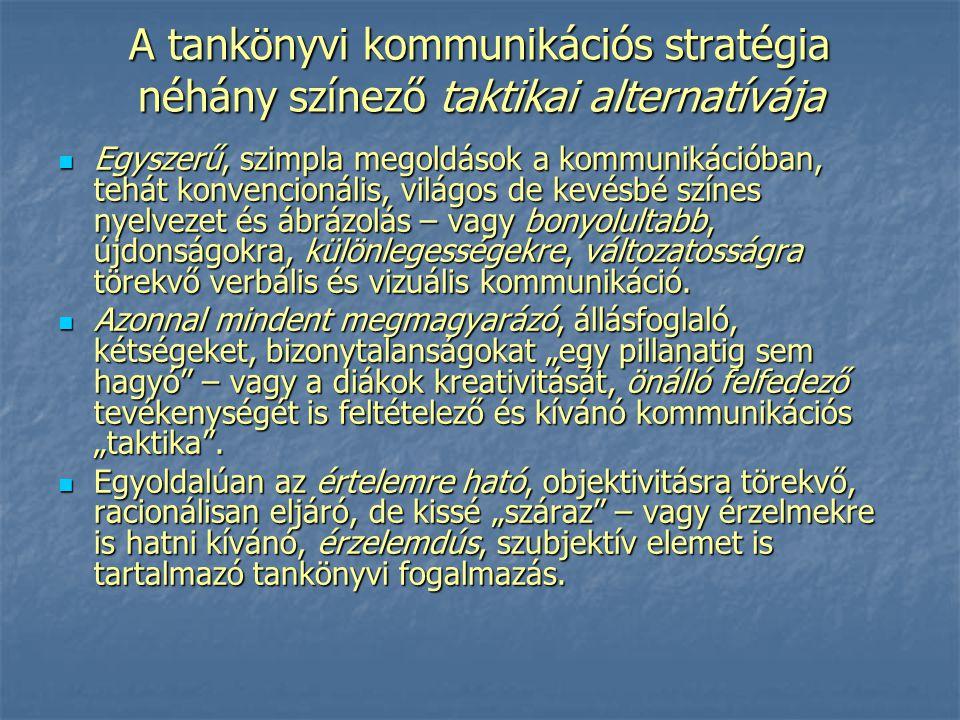 A tankönyvi kommunikációs stratégia néhány színező taktikai alternatívája Egyszerű, szimpla megoldások a kommunikációban, tehát konvencionális, világo