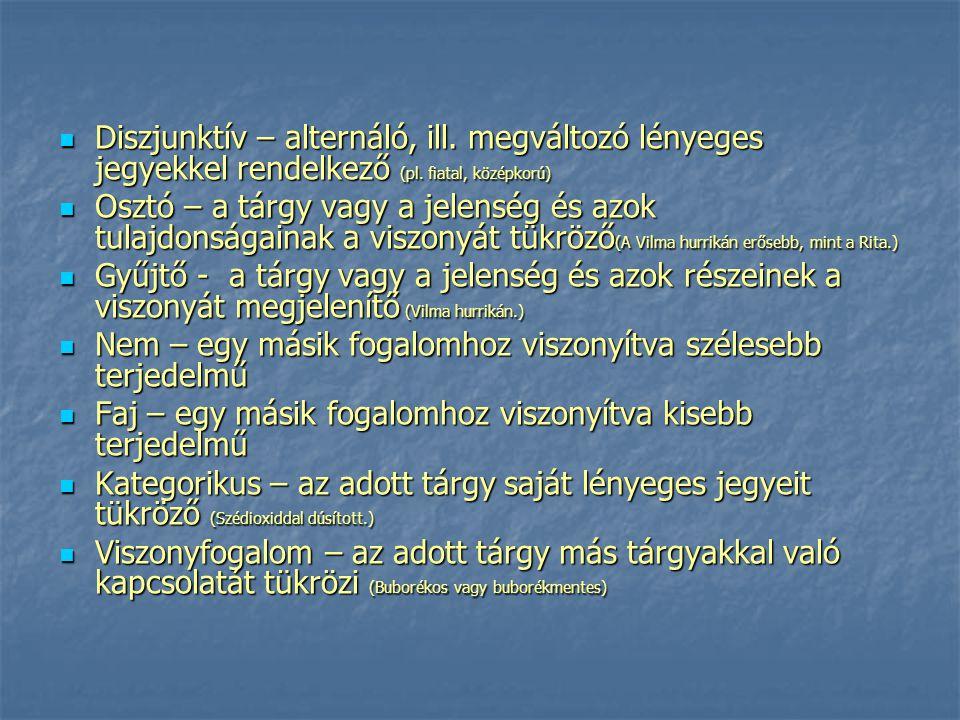 Diszjunktív – alternáló, ill. megváltozó lényeges jegyekkel rendelkező (pl. fiatal, középkorú) Diszjunktív – alternáló, ill. megváltozó lényeges jegye