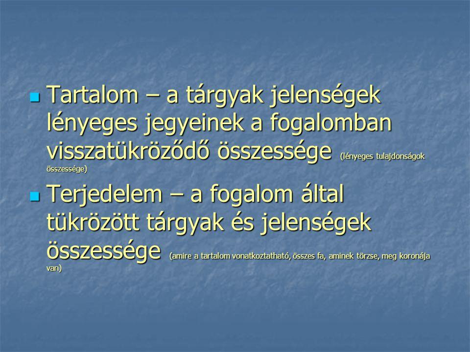 Hierarchia Összeegyeztethető (terjedelmük tekintetében részben vagy teljes egészében megegyező) fogalmak között három alapvető viszonytípust különböztetünk meg: egyértelmű (a fogalmak jegyei ugyanazokat a tárgyakat tükrözik) (fiatal fa, csemete) egyértelmű (a fogalmak jegyei ugyanazokat a tárgyakat tükrözik) (fiatal fa, csemete) alárendelt/fölérendelt (az egyik fogalom terjedelme beletartozik a másik fogalom terjedelmébe) (nő, Vilma) alárendelt/fölérendelt (az egyik fogalom terjedelme beletartozik a másik fogalom terjedelmébe) (nő, Vilma) keresztező viszony (a fogalmak terjedelme és tartalma részben közös) (nő, házas, kettő keresztezése férjes asszony) keresztező viszony (a fogalmak terjedelme és tartalma részben közös) (nő, házas, kettő keresztezése férjes asszony)