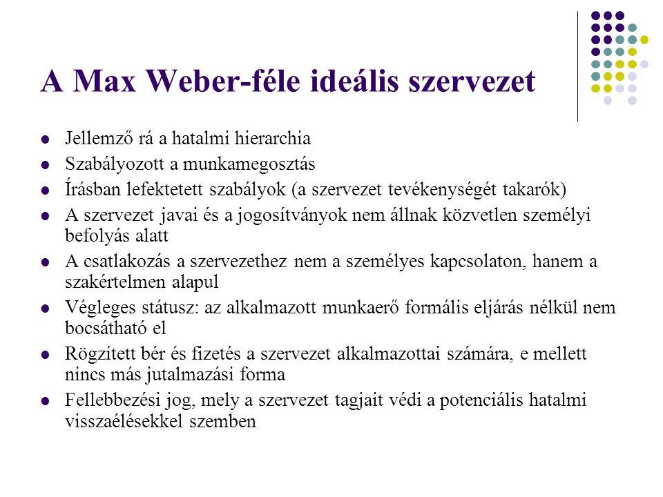 A Max Weber-féle ideális szervezet Jellemző rá a hatalmi hierarchia Szabályozott a munkamegosztás Írásban lefektetett szabályok (a szervezet tevékenys