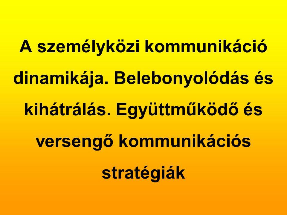 A személyközi kommunikáció dinamikája. Belebonyolódás és kihátrálás. Együttműködő és versengő kommunikációs stratégiák