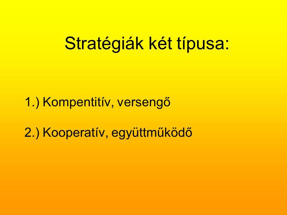 Stratégiák tematikus megközelítése Pl.: időtöltés, játszmák A játszmák szerkezeti elemei: horog: a játszmára való felhívást képviselő tranzakcionális inger, gyenge pont: vagyis a tranzakcionális válasz, amelyben a partner elfogadja a játszmára szóló felhívást, válasz: horog és gyenge pont párok sorozata a belebonyolódás után; ez lehet egyetlenegy is, de lehet akár több is, akár évekig tarthat ugyanabban a játszmában, átkapcsolás: a játszmának az a pontja ahol a játékos a nyereség begyűjtése érdekében szerepet vált, szembesülés: a partner által közvetlenül az Átkapcsolás után megtapasztalt pillanatnyi zavar, kiegyenlítés: a játszma résztvevői összegyűjtik a különféle sztrókokat a kiértékeléshez.