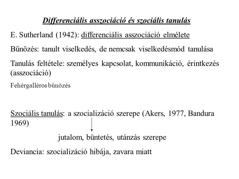 Differenciális asszociáció és szociális tanulás E.