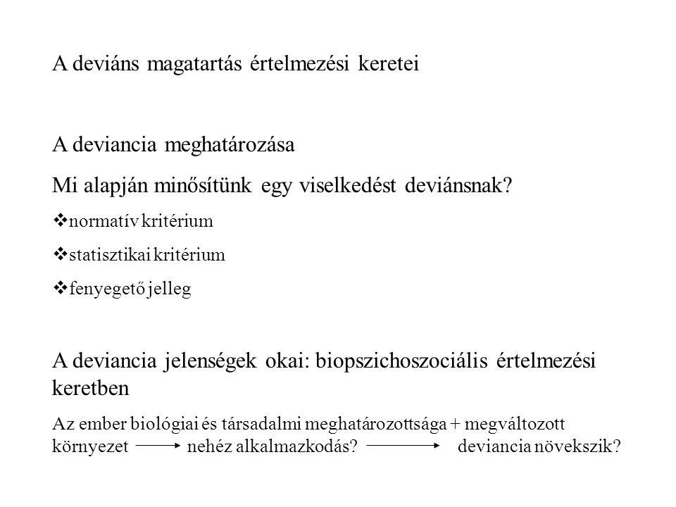 1.Biológiai, genetikai tényezők Degeneráltság= ősi civilizálatlan emberi jelleg manifesztációja (genetikai hiba) 1960: XYY kromoszóma Hormonok, enzimek szerepe 2.