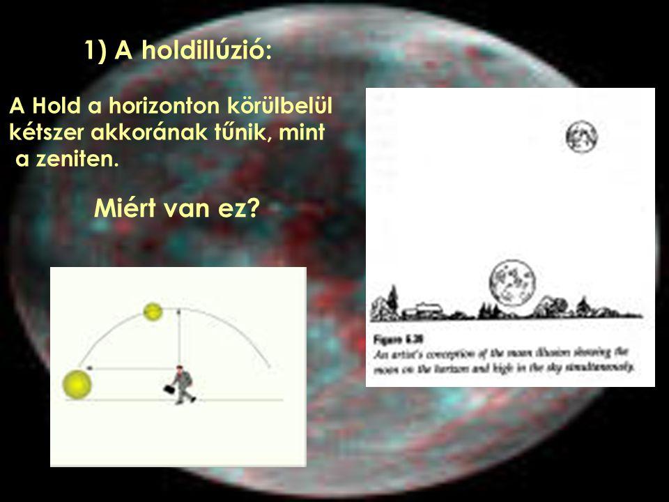 1) A holdillúzió: A Hold a horizonton körülbelül kétszer akkorának tűnik, mint a zeniten. Miért van ez?
