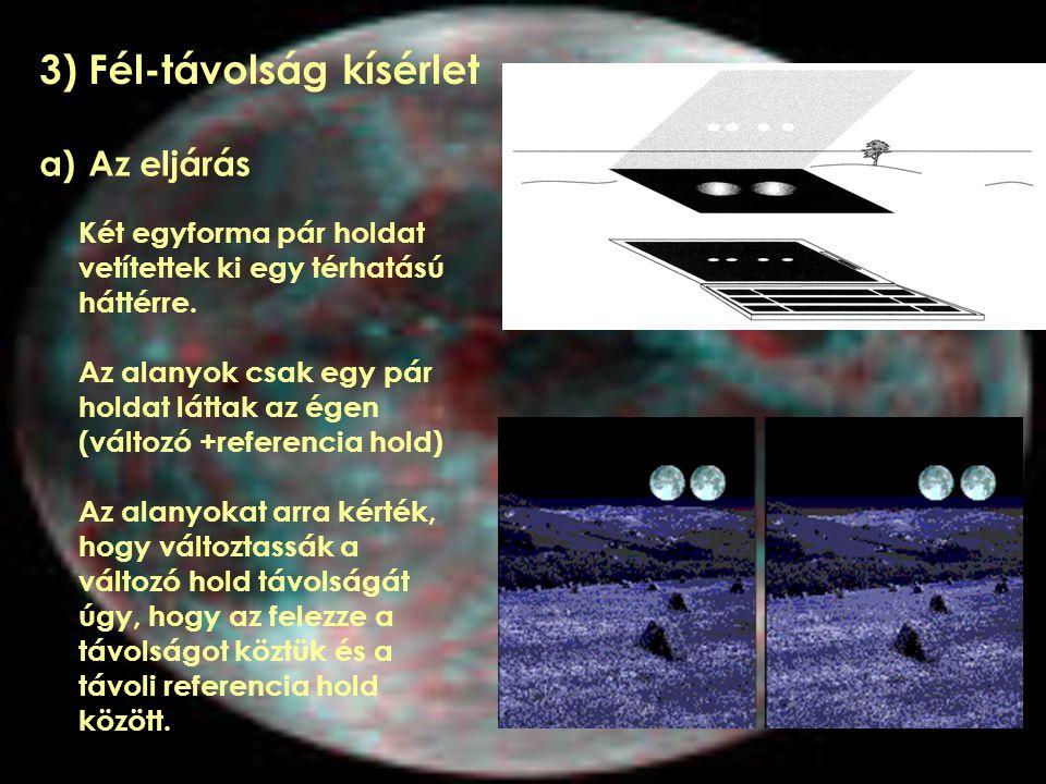 3) Fél-távolság kísérlet a) Az eljárás Két egyforma pár holdat vetítettek ki egy térhatású háttérre. Az alanyok csak egy pár holdat láttak az égen (vá