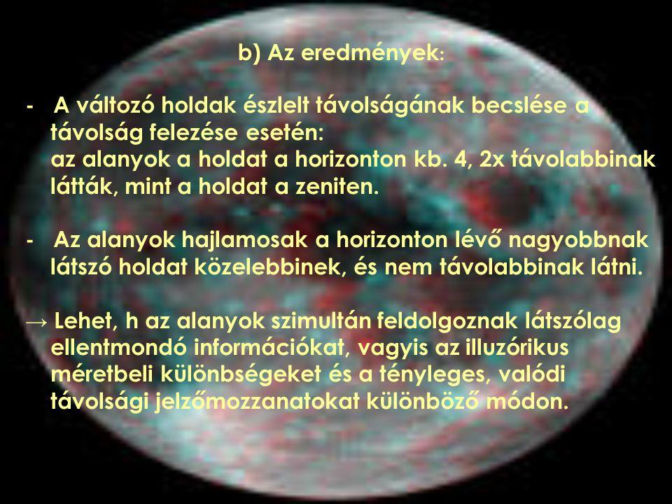 - A változó holdak észlelt távolságának becslése a távolság felezése esetén: az alanyok a holdat a horizonton kb. 4, 2x távolabbinak látták, mint a ho
