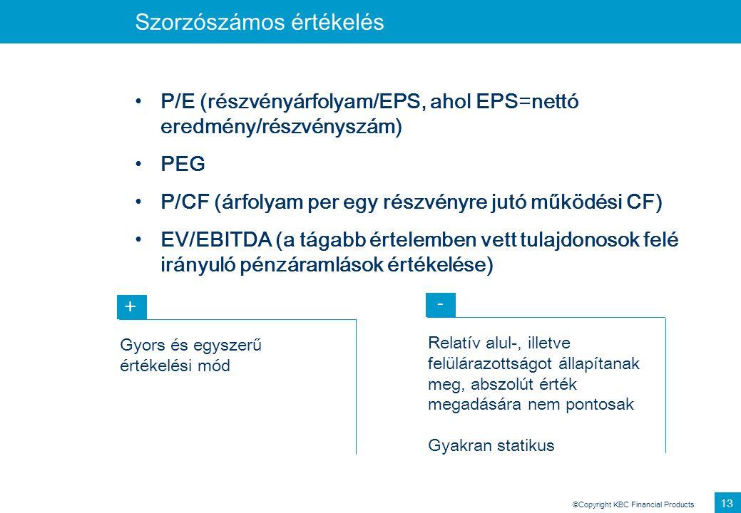 ©Copyright KBC Financial Products 13 Szorzószámos értékelés P/E (részvényárfolyam/EPS, ahol EPS=nettó eredmény/részvényszám) PEG P/CF (árfolyam per eg