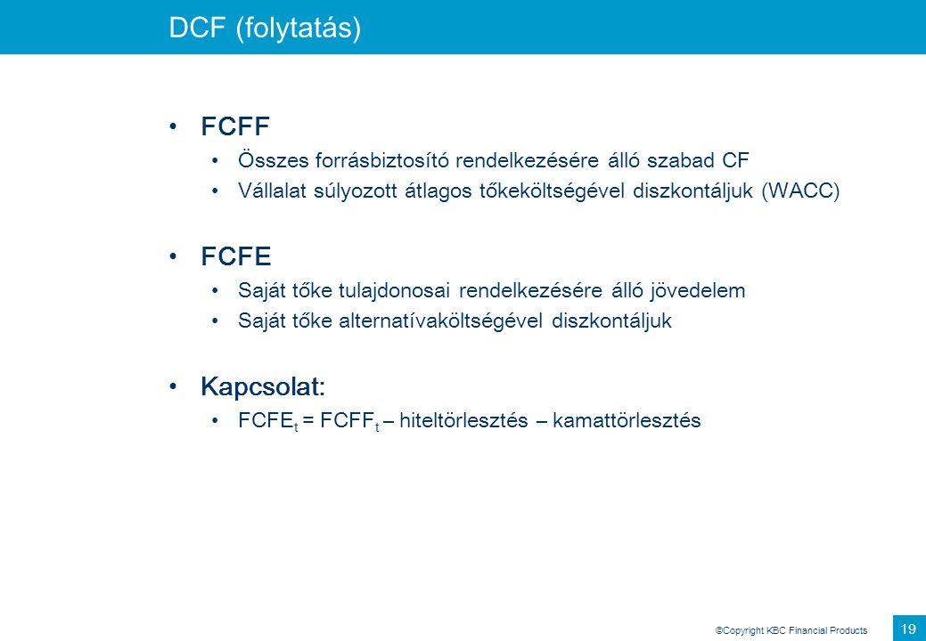 ©Copyright KBC Financial Products 19 DCF (folytatás) FCFF Összes forrásbiztosító rendelkezésére álló szabad CF Vállalat súlyozott átlagos tőkeköltségé