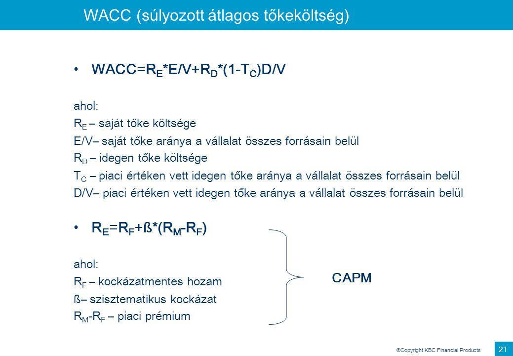 ©Copyright KBC Financial Products 21 WACC (súlyozott átlagos tőkeköltség) WACC=R E *E/V+R D *(1-T C )D/V ahol: R E – saját tőke költsége E/V– saját tő