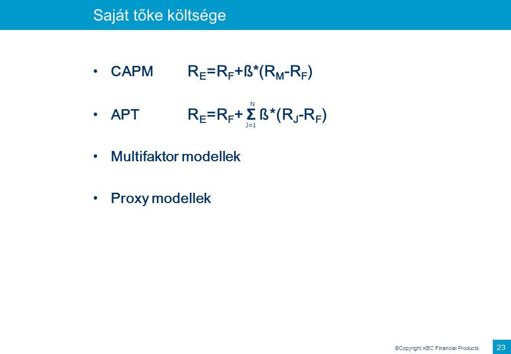 ©Copyright KBC Financial Products 23 Saját tőke költsége CAPM R E =R F +ß*(R M -R F ) APT R E =R F + Σ ß*(R J -R F ) Multifaktor modellek Proxy modell