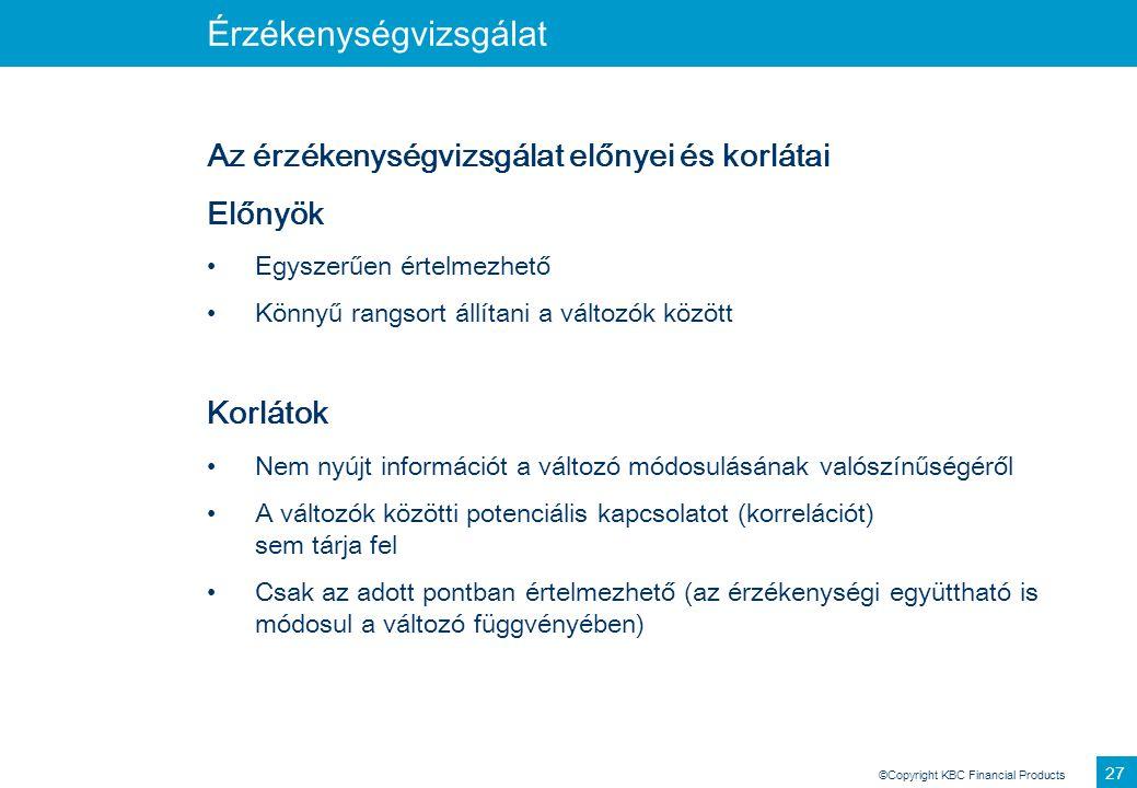 ©Copyright KBC Financial Products 27 Érzékenységvizsgálat Az érzékenységvizsgálat előnyei és korlátai Előnyök Egyszerűen értelmezhető Könnyű rangsort