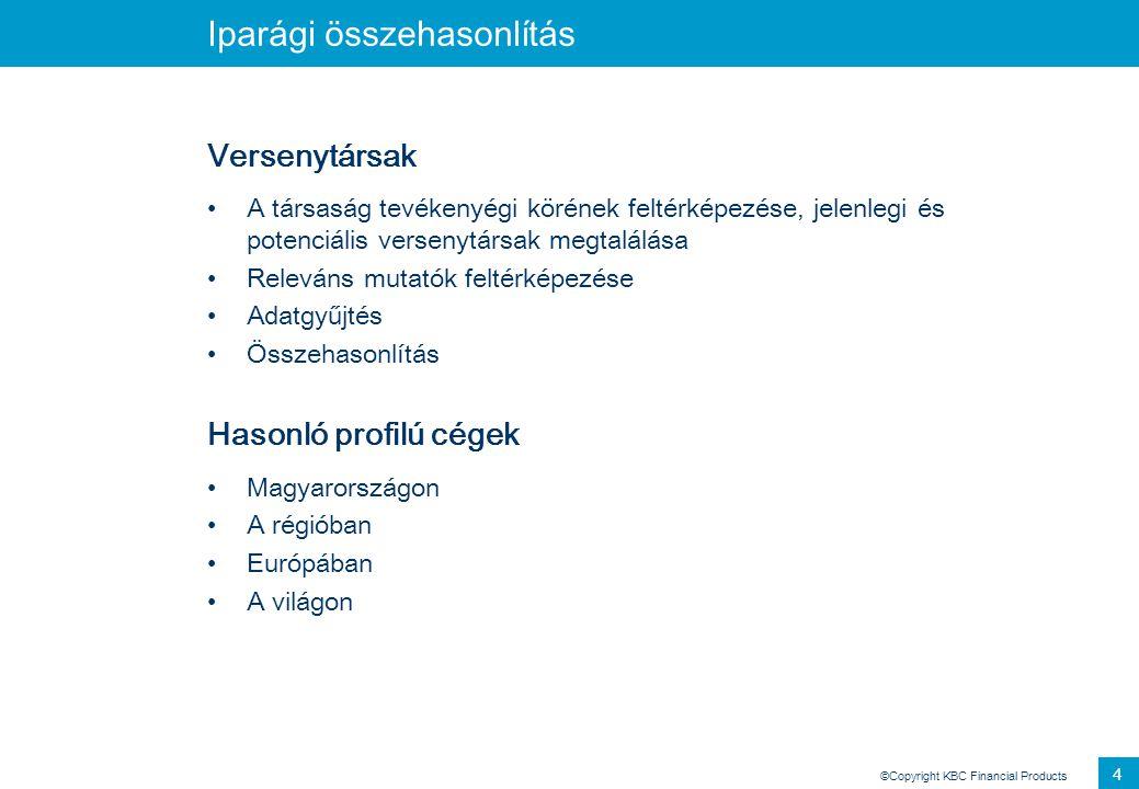 ©Copyright KBC Financial Products 5 Iparági összehasonlítás Példa
