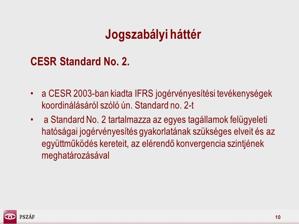 10 Jogszabályi háttér CESR Standard No. 2.
